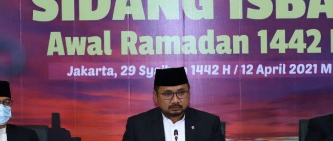 Menteri Agama Yaqut Cholil Qoumas di Sidang Isbat Penetaan Awal Ramadan, 12 April 2021 (dok. KM)