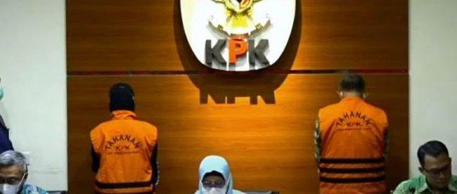 Dua Anggota DPRD Jawa Barat ditetapkan sebagai tersangka terkait kasus suap bantuan Provinsi Jawa Barat ke Kabupaten Indramayu tahun anggaran 2017-2019, Gedung Merah Putih KPK, Jakarta Selatan, Kamis Sore 15/4/2021 (Dok. Hari Setiawan Muhammad Yasin/KM)