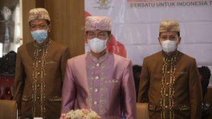 Bupati Lampung Utara Budi Utomo mengikuti Upacara Hari Lahir Pancasila secara daring di Lampung Utara (1/6/2021)