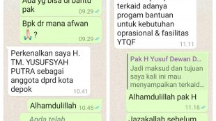 Chat aksi penipuan mengatasnamakan Ketua DPRD Kota Depok (dok.KM)
